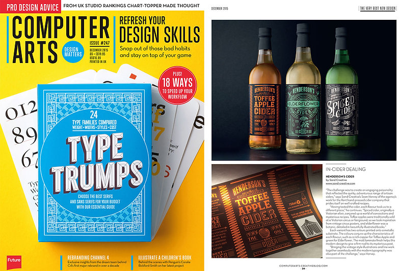 Sand Creative brand identity and packaging design Hendersons Computer Arts Article