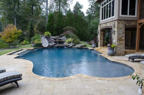 Pool Build Waterfall, Slide