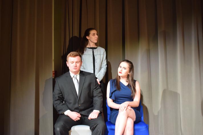 Claudius, Polonius, Gertrude