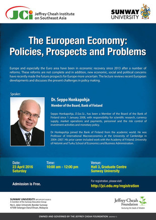 ECONOMIC LECTURE 23 APRIL 2016 : THE EUROPEAN ECONOMY - POLICIES, PROSPECTS AND PROBLEMS