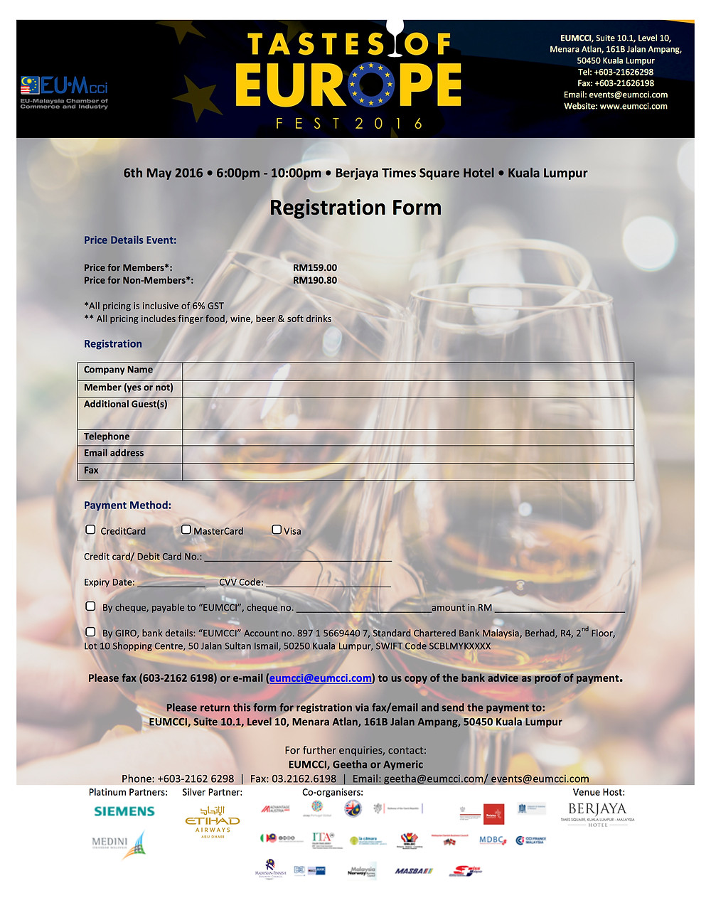 Tastes of Europe Fest -registration form