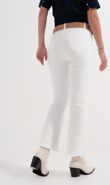 Straight broek brede pijpen wit