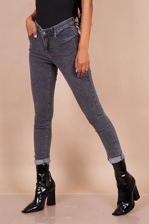 Toxik grijze jeans met motief