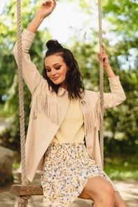 Stefanie fringe jacket, Nora pleat skirt