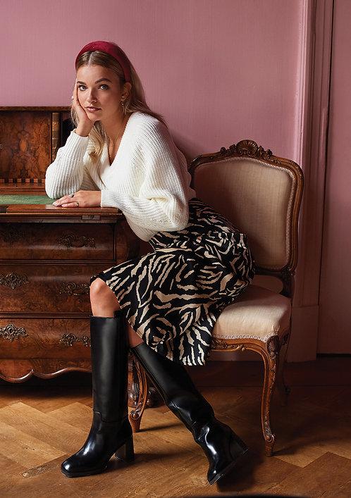 ydence skirt Faye black tiger print
