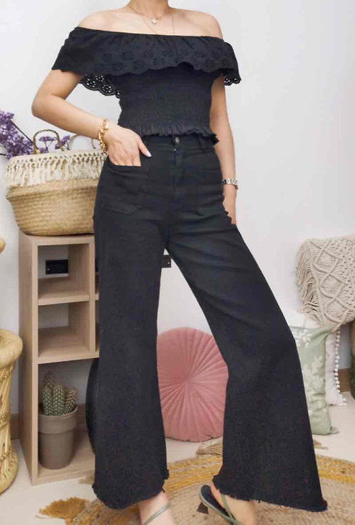Instagirl hoge taille broek zwart
