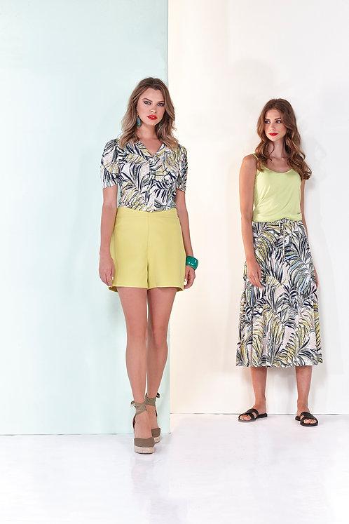 Batida skirt lime kaki print (rechts foto)