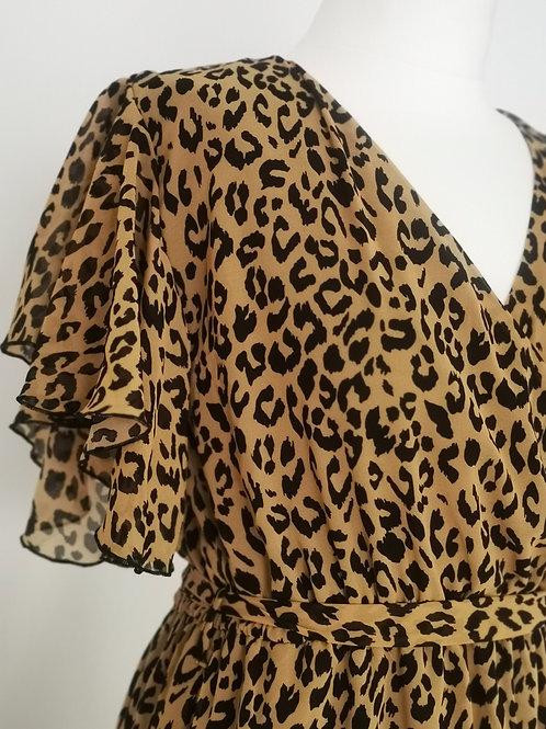 leopard wrap style dress