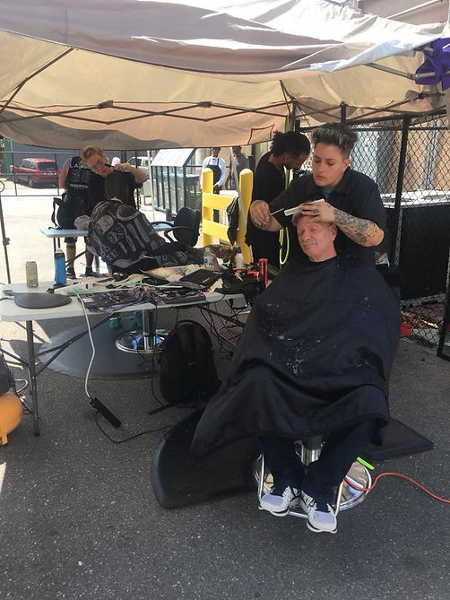 march homeless haircuts