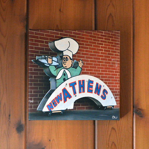 'Athen's Restaurant' Wall Canvas