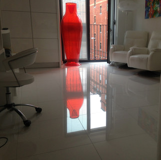Lauzzo gloss white tiled floor