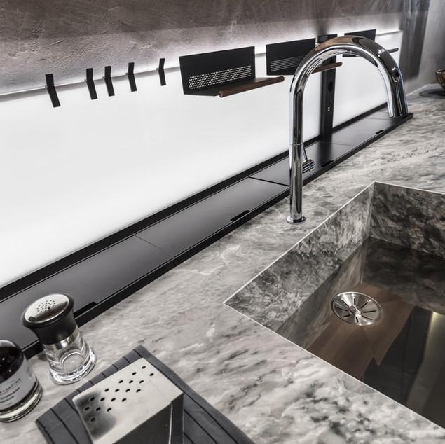 Lauzzo kitchen sink and back lit splash back