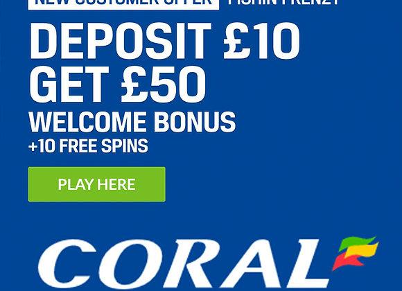 Bet £10 Get £50 Casino Bonus
