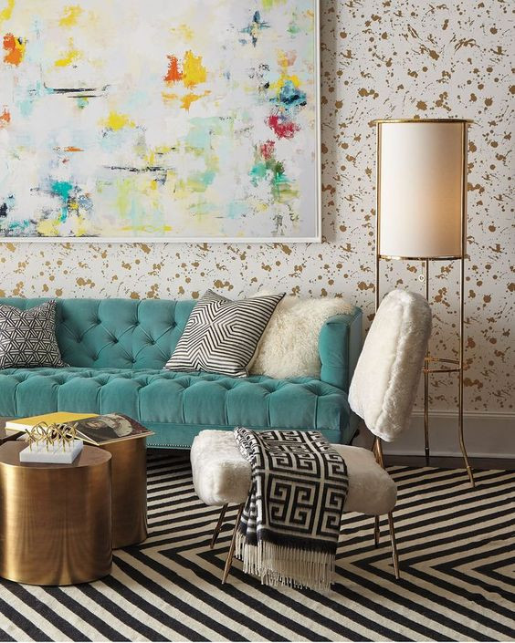 watercolor art mixed patterns living room