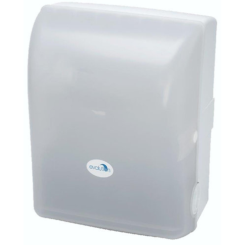AUTOCUT HAND TOWEL SYSTEM ROLL DISPENSER - WHITE/TRANSPARENT.