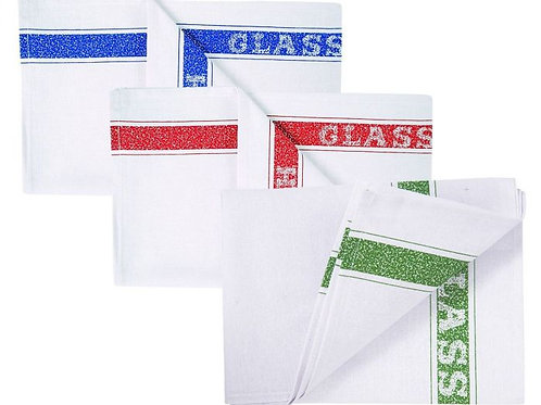 COTTON GLASS CLOTH - 50x76cm ASSORTED COLOURS. PACK/10.