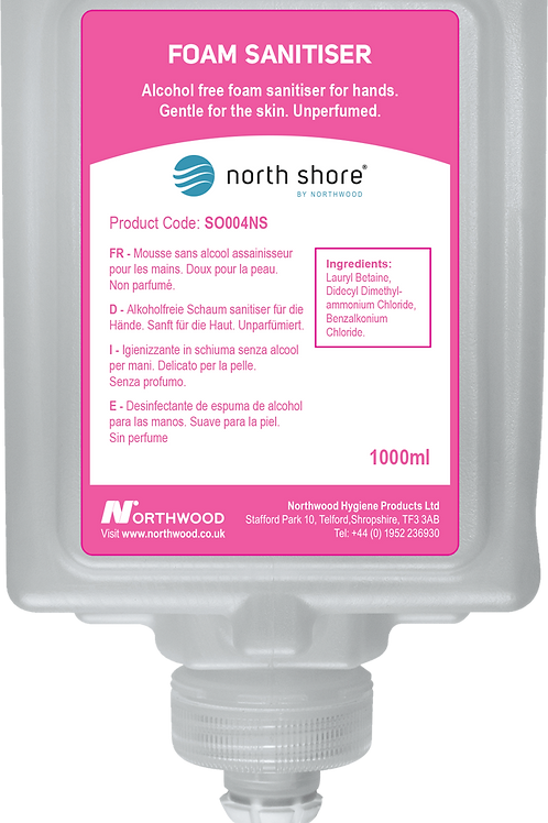 NORTH SHORE 004 INSTANT HAND SANITISER FOAM SYSTEM CARTRIDGE - CASE/6