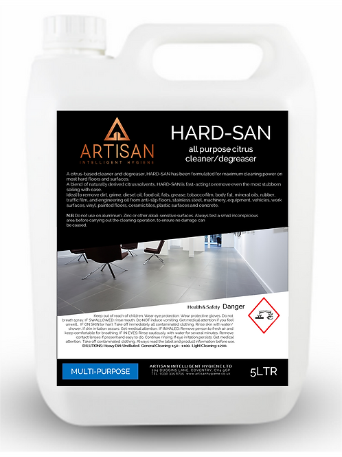 HARD-SAN ECO-FRIENDLY CITRUS CLEANER/DEGREASER CONCENTRATE - 5LTR