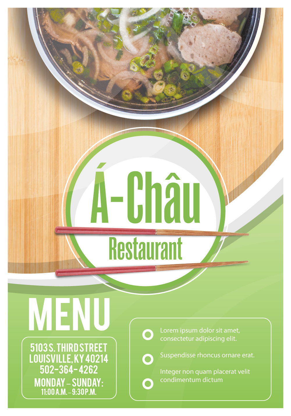 A Chau Menu Green