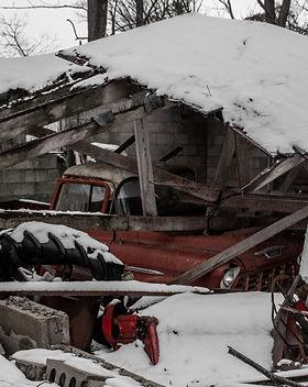 Roof fallen onto car
