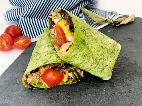 Tuna wrap with egg and tomato
