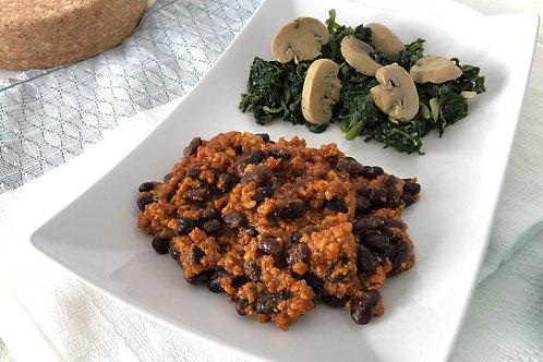 Chilli de Vitela + Espinafres e cogumelos
