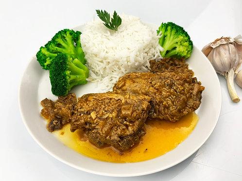 Sliced veal (slow cook) + basmati rice + broccoli