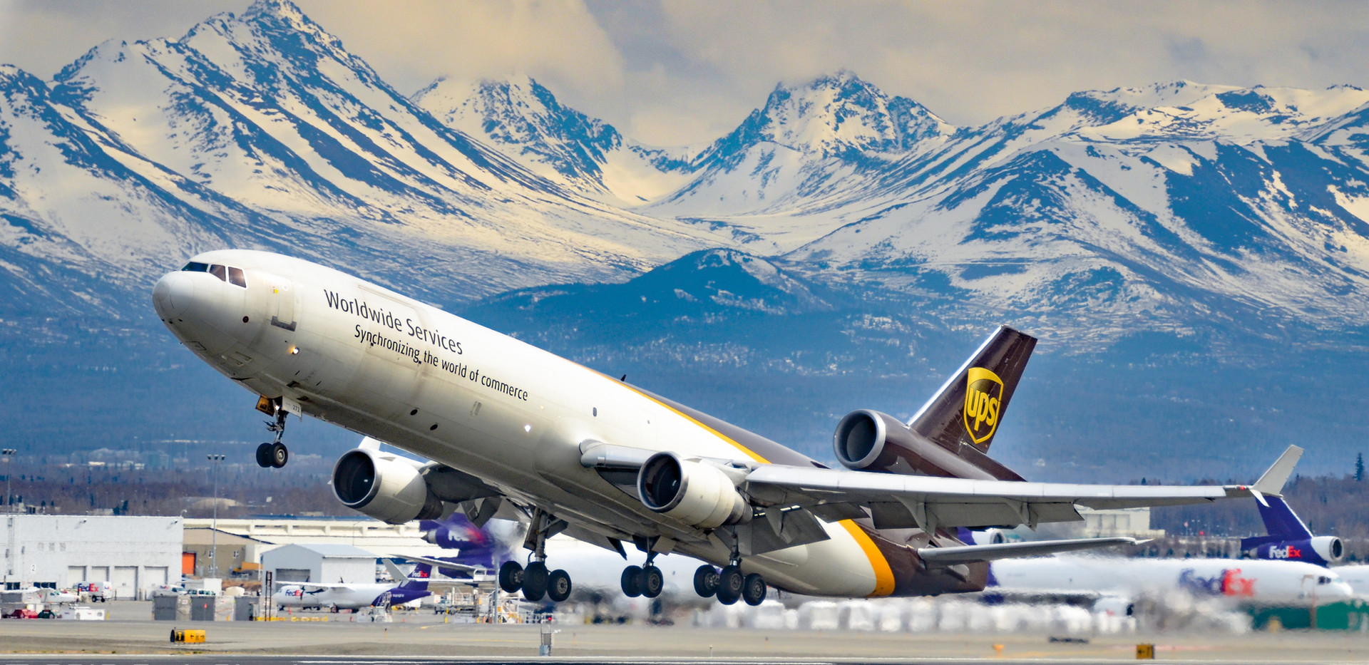 UPS MD11F takes off from PANC, 2012