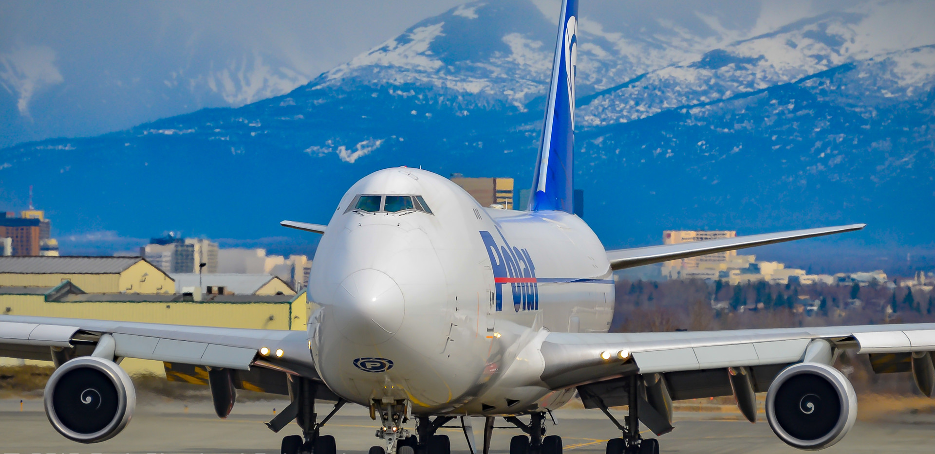 Polar Air Cargo 747-400F taxis at Anchorage, 2012
