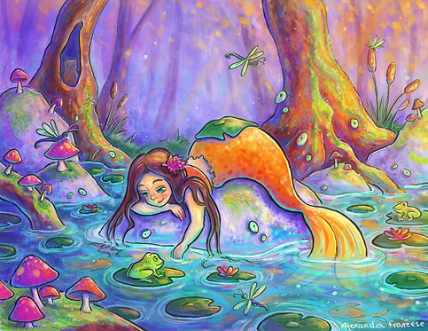 """""""Sleepy Mermaid"""" Art Print"""