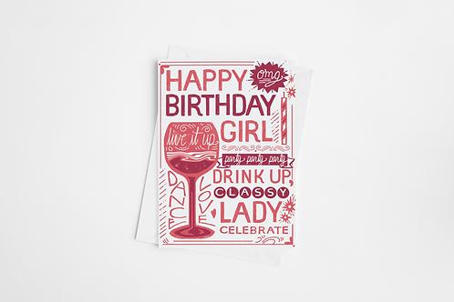 """Drink Up Classy Lady"" Blank Birthday Card"