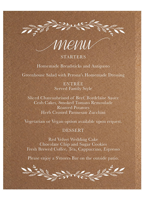 Rustic Wedding Menu 1