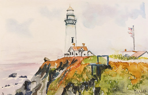 """Pigeon Point Light Station"" Watercolor Art Print"