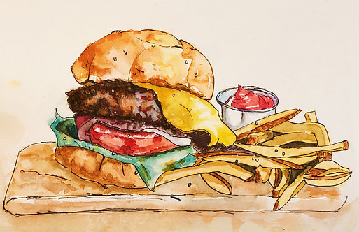 """""""Burger"""" Watercolor Art Print"""