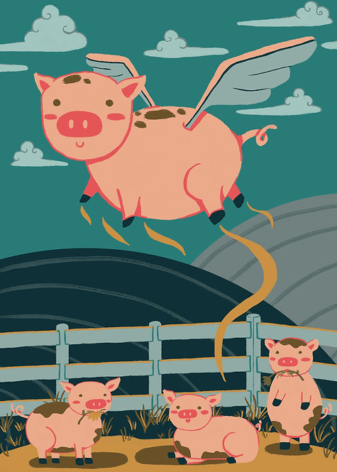 """""""When Pigs Fly"""" Art Print"""