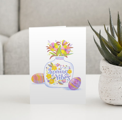 """Spring Vibes in a Vase"" Blank Card"