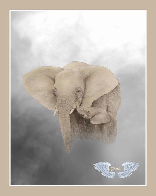 """Elephant and Calf"" Art Print"