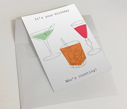 """Happy Birthday Cocktail"" Blank Card"