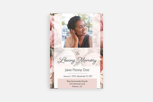 Peony Funeral Program