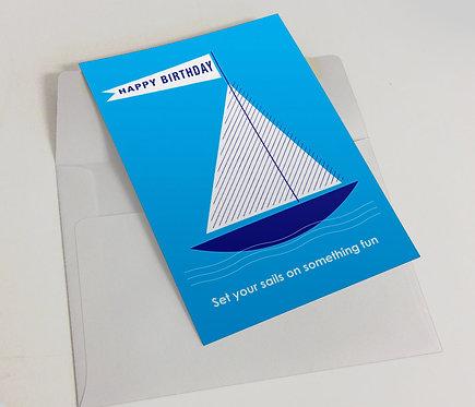 """Happy Birthday Sails""- Blank Birthday Card"
