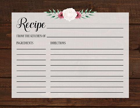 Rustic Bridal Shower Recipe Card