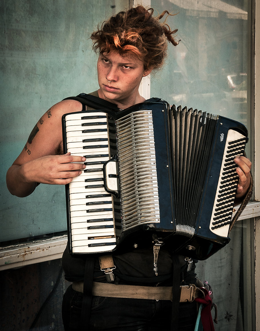 Accordian Girl: Nothing To Hold On To. Saturday Market, Portland, OR