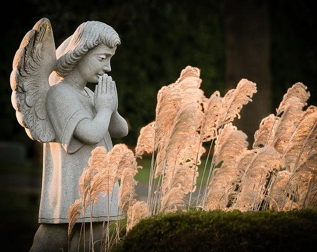Welcoming the dawn, prays angel in graveyard.