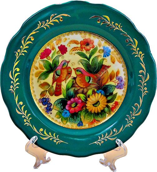 "Декоративная тарелка ""Птицы в цветах"""