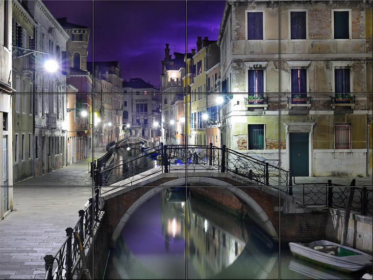 Модульная картина Ночной мостик в Венеции