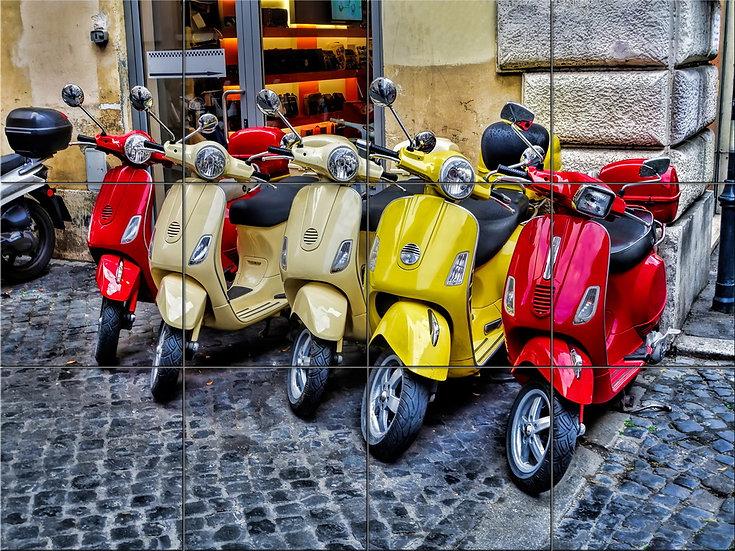 Модульная картина Яркие скутеры