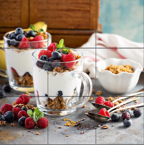 Модульная картина десерт-натюрморт из йогуртов