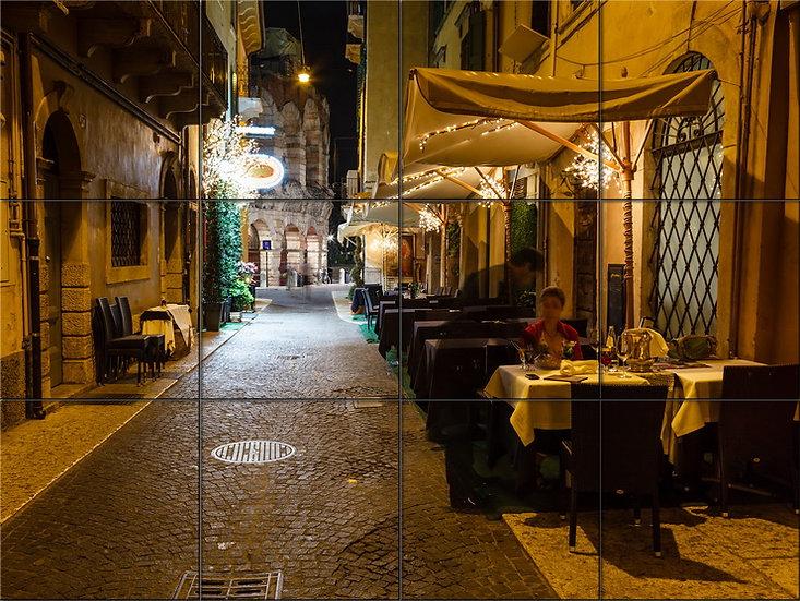 Модульная картина Ночное кафе в Европе