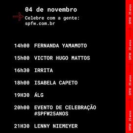 Line-up completo do #SPFW25anos
