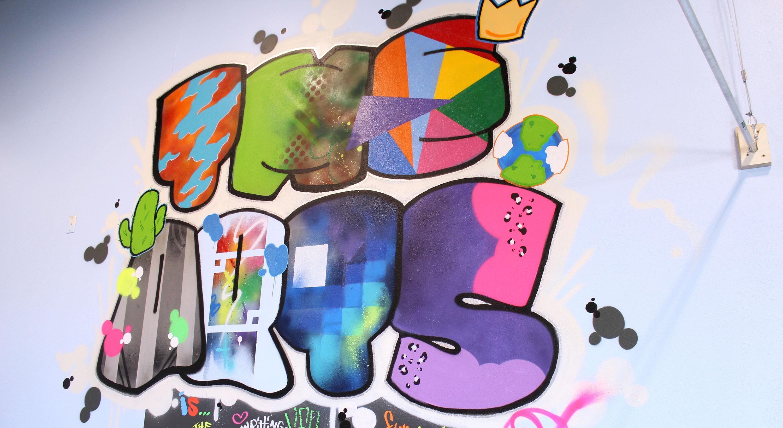 The ARTS colorful mural wall, virtual ac